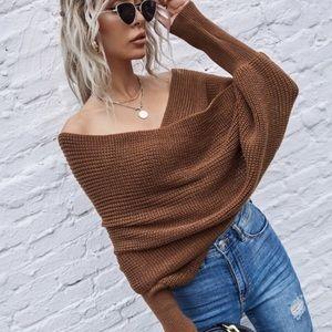 Off Shoulder Knit Wrap Sweater- Brown